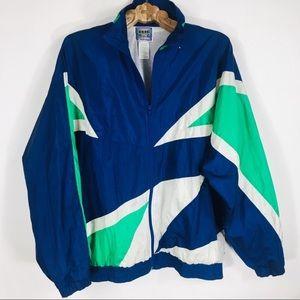 Vtg Colorblock Blue Green White Windbreaker XL